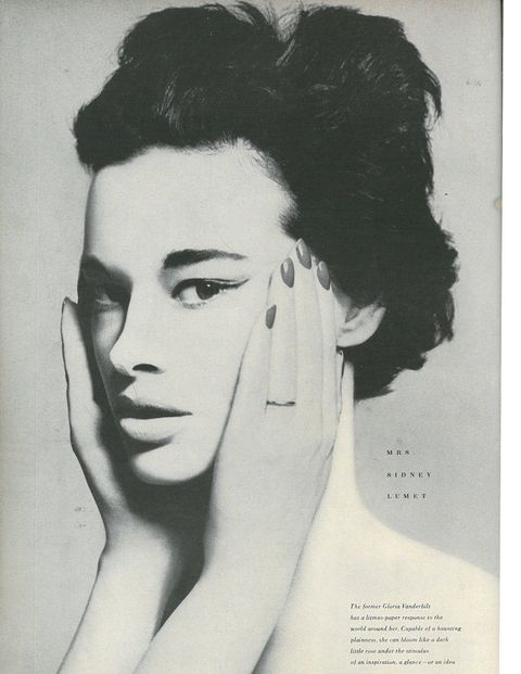 Richard Avedon photographed Vanderbilt less than a year after her marriage to third husband, director Sidney Lumet. After their divorce in 1963, she married Wyatt Emory Cooper, father to Anderson.