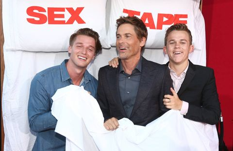 At the 'Sex Tape' Premiere with Rob Lowe (C) and John Owen Lowe.