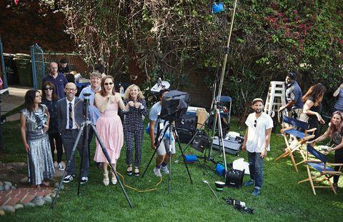 Dress, Chair, Tripod, Backyard, Garden, Lawn, Yard, Camera accessory, Folding chair,