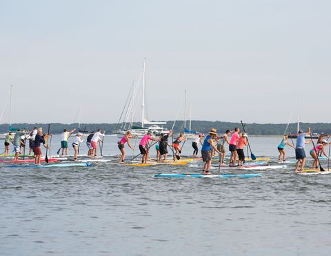 Paddle boarders take-off onto Sag Harbor.