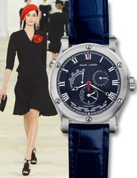 There may have been a distinctly Spanish flair to Ralph Lauren's Spring 2013 collection, but the new Sporting World Time Steel — with movements by Jaeger-LeCoultre — keeps track of minutes in all 24 time zones.$9,500, ralphlaurenwatches.com