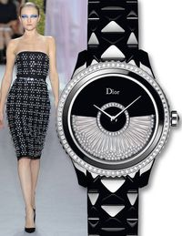 The Dior VIII Grand Bal Drapé, a name that includes Christian Dior's lucky number, features a mother-of-pearl dial and an automatic movement set with diamonds.$32,500, 866-675-2078
