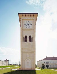 The clock tower at King's Academy, established by King Abdullah II in Madaba, Jordan, and inspired by Deerfield.