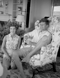 John F. Kennedy and Jacqueline being interviewed by LIFE Magazine.