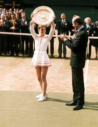Chris Evert wins Wimbledon in 1974.