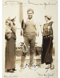 """Perona had pretty good relationships with some of the prominent boxers and other athletes of the time period, especially Luis Firpo, the heavyweight who fought Jack Dempsey in what's considered the greatest boxing match of 1923,"" Costanzo says. ""The reason the fight was so famous is that in the first round Firpo hit Dempsey out of the ring in and Dempsey hit his head on a sportswriter's typewriter, rendering him nearly unconscious. But in those days boxers had 20 seconds to get back in the ring and Dempsey got back in and beat Firpo in a second round knockout. It's been called the best two minutes in boxing history.""""His autograph is pretty rare and these are from around the time of the boxing match."" The ephemera in the lot includes a newspaper clipping from the day following the fight with the headline, ""Dempsey Most Terrific Fight in History: Firpo Tangoes and Joins Revel Until Two O'Clock After Fight."" (He was partying at El Morocco.)Estimate: $300-500Lot 720"