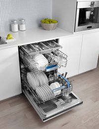 """If you're thinking big this spring cleaning season, revamp your kitchen with a Bosch dishwasher. Their top-of-the-line 800 plus series is one of the only in the world to feature a third rack (perfect for delicate flatware and smaller kitchen items), and has been called the quietest in the world. It's so silent that they've built in an indicator light, which turns on when the dishwasher is in use, so you know your dishes are being cleaned. <i>From $799, <a href=""""http://www.bosch-home.us"""">bosch-home.us</a>.</i>"""