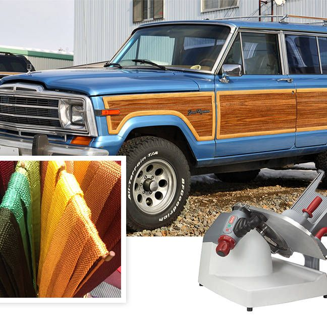 """1) """"These colors don't exist outside the Pantone catalogue.""""A rainbow of Charvet ties, neimanmarcus.com2) """"Snow season approaches, and I want to be prepared. Isn't that a good excuse to buy something impractical?""""Jeep Wagoneer, jeep.com3) """"If you are serious about prosciutto you have no choice.""""Berkel slicer, berkelequipment.com"""