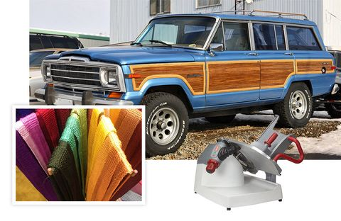 "1) ""These colors don't exist outside the Pantone catalogue.""A rainbow of Charvet ties, neimanmarcus.com2) ""Snow season approaches, and I want to be prepared. Isn't that a good excuse to buy something impractical?""Jeep Wagoneer, jeep.com3) ""If you are serious about prosciutto you have no choice.""Berkel slicer, berkelequipment.com"