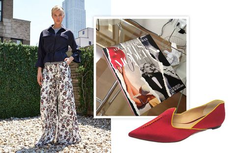 "Here (and throughout), from left:1) Carolina Herrera resort 2014 palazzo pants.2) It's Modern: The Eye and Visual Influence of Alexander Lieberman, by Charles Churchward3) Kotur flats (available this fall at kotur.com). ""My sister makes these!"""