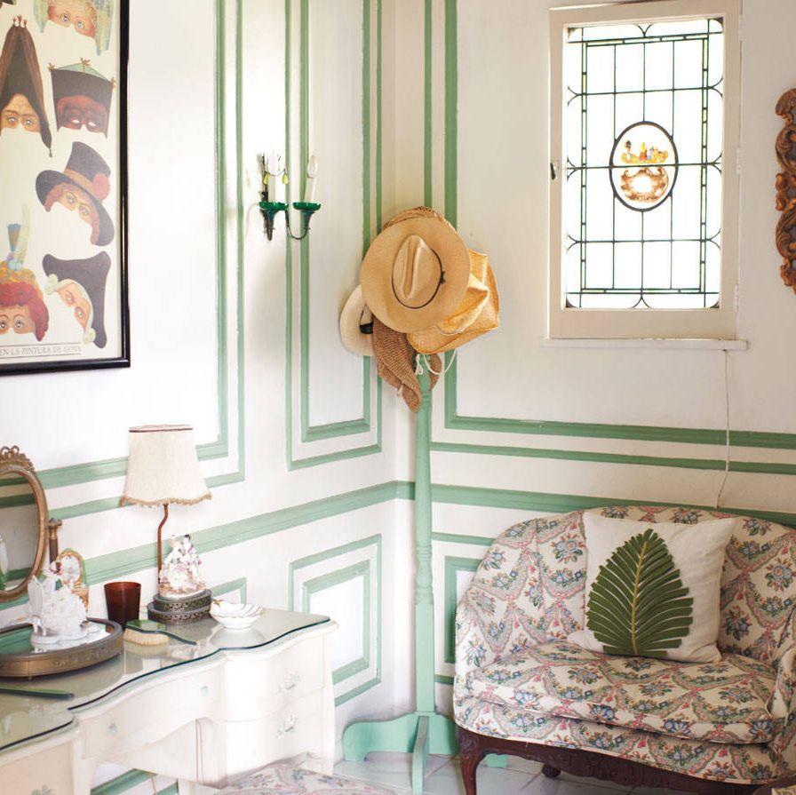 A powder room reveals a feminine side to the house.