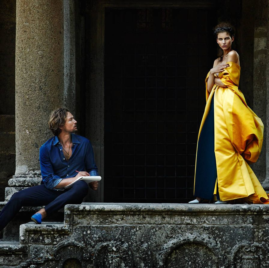 Despite the monumental distractions of Italy's Sacred Wood of Bomarzo, his gaze rested only on her. Wes Gordon cloak ($12,675)&#x3B; Max Mara pants ($895)&#x3B; Proenza Schouler shoes ($695). On him, Brunello Cucinelli shirt ($495)&#x3B; Louis Vuitton pants ($1,175)&#x3B; CB Made in Italy slippers ($400)&#x3B; his own necklace.Styled by Sophie Pera