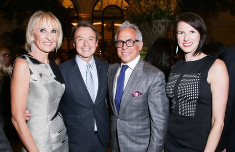 Last week, Town & Country celebrated the launch of Town & Country Travel at the Plaza Hotel's Palm Court, which has been newly invigorated by the hotel's culinary director (and Iron Chef winner) Geoffrey Zakarian. Originally in production from 2003-2008, Town & Country Travel hit last week under the guidance of travel editor at large Klara Glowczewska, who joined the magazine in June of this year. The magazine will launch with two issues per year, in the fall and spring.Pictured  aboved are travel editor at large Klara Glowczewska, Michael Clinton (president, marketing and publishing director, Hearst Magazines), chef Geoffrey Zakarian, and T&C publisher and chief revenue officer Jennifer Levene Bruno. Click through for a look at the fashionable event, which featured Tanqueray No. Ten cocktails by mixologist Brian Van Flandern.