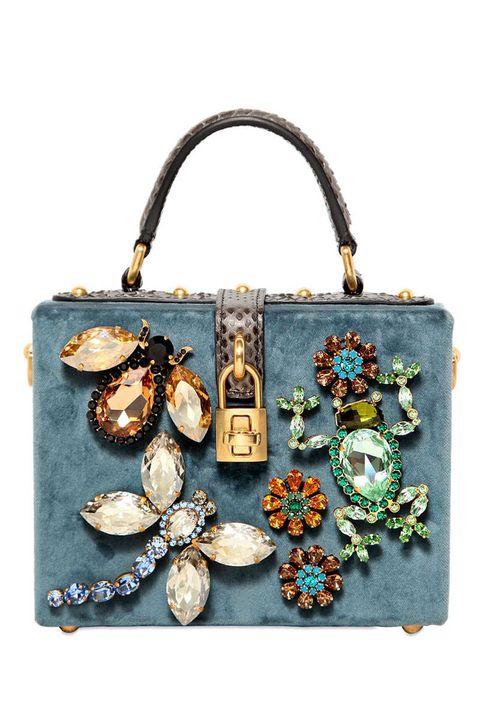 Dolce & Gabbana Small Velvet Embellished Dolce Bag, $4,295; luisaviaroma.com