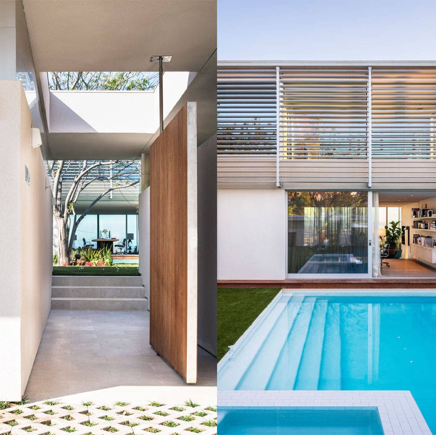 """<p>""""I've always wanted to design a little house with a big garage,"""" Steven Harris says of the two-story home he created for the couple. At 2,500 square feet, it's modest by today's standards, though the garages (yes, that's plural) are anything but&#x3B; they too total 2,500 square feet. The project was particularly close to the New York–based architect's heart, because, like Ineichen and Espinosa, he's a collector of vintage Porsches. He has about 30, stashed in cities from Denver to Dubrovnik. """"I don't like renting cars,"""" he says, only half in jest. Harris has driven a 50-year-old Porsche in a Beijing-to-Paris rally, and last year he drove a 356 coupe from Rio to Patagonia. Not surprisingly, it was at a car show that he met Ineichen and Espinosa, an encounter that ultimately produced this car-centric house.</p><p> </p><p><em>Left: A glimpse of the garden and outdoor living airea that leads to the house. Right: The home office and the pool that runs the length of the garden.</em></p>"""