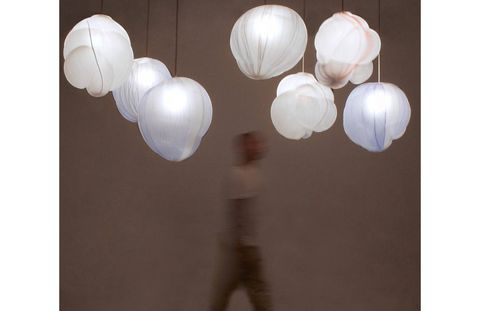Gallery Fumi's exhibition of Jeremy Wintrebert's glass pieces includes his Clouds lights.