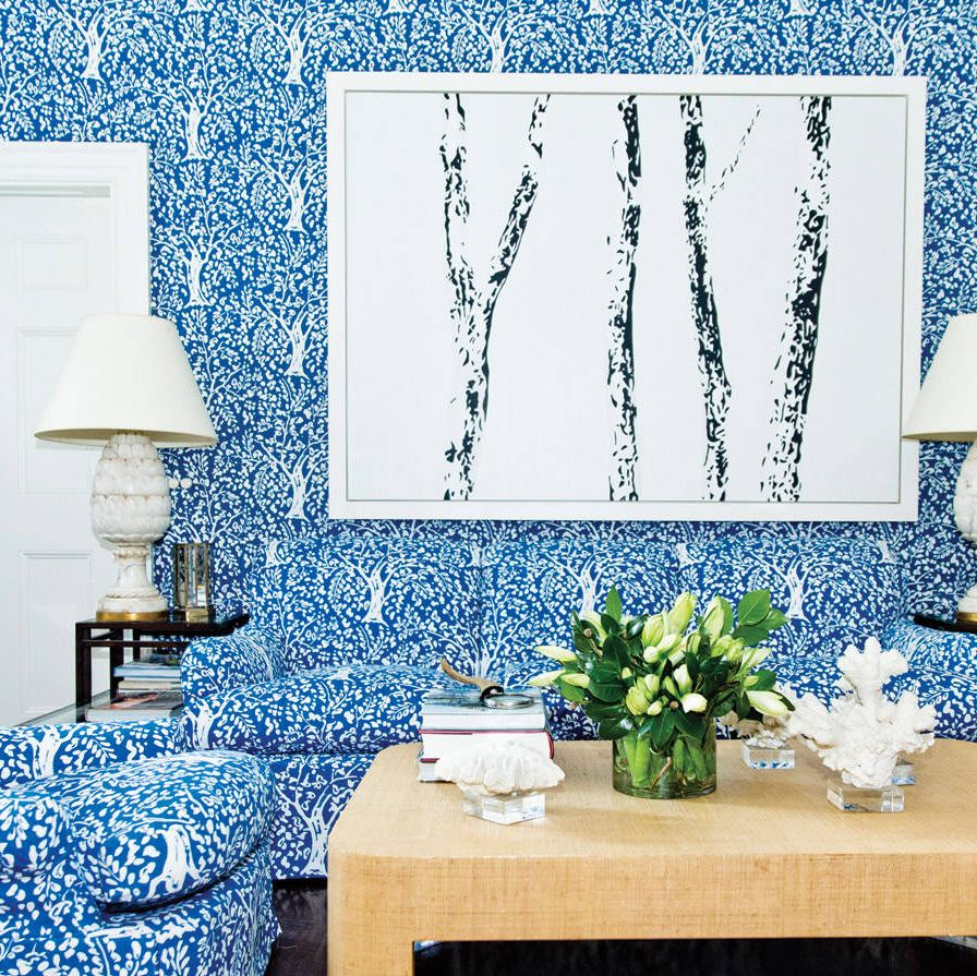 This room has become affectionately known as the Blue Room. I kept coming back to this signature Billy Baldwin cotton-fabric wall covering that was inspired by Matisse, my favorite artist.