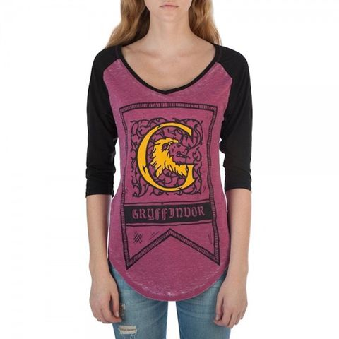 7e120e064 Harry Potter House Crest Flag Juniors 3/4 Sleeve Raglan T-shirts  [Gryffindor, Small]