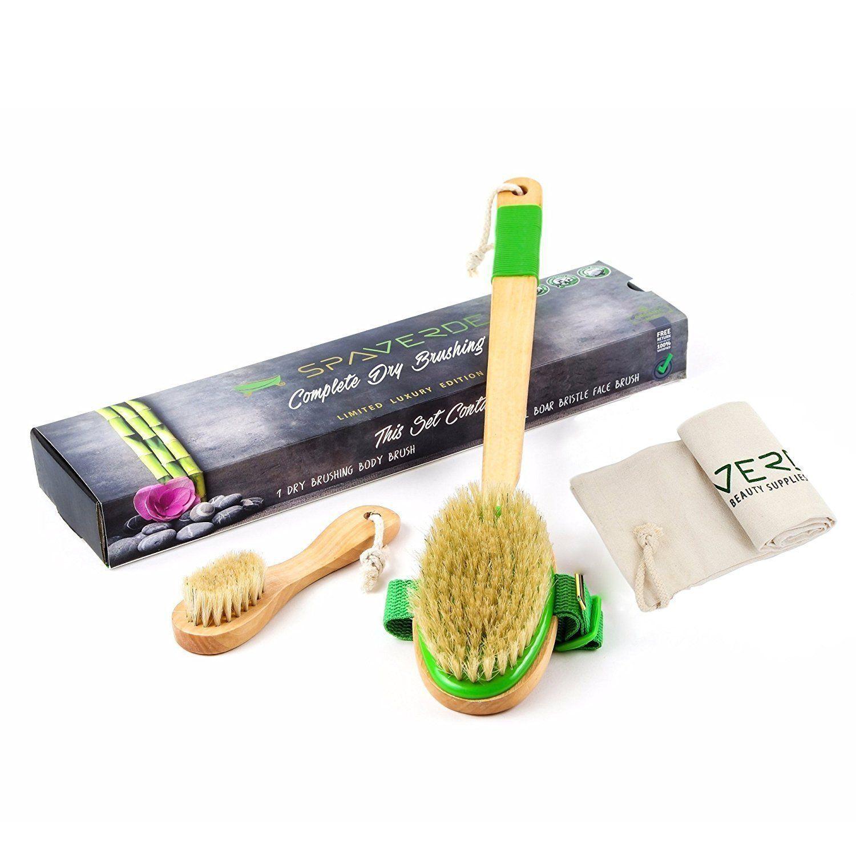 SpaVerde Natural Boar Bristle Body and Face Brush Set