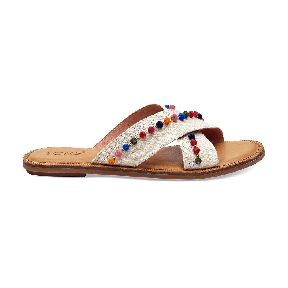 6bdfb1d5561 TOMS Viv Denim Chambray Pompom Sandals