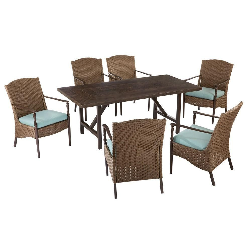5 Home Decorators Collection Bolingbrook 7 Piece Wicker Outdoor Patio  Dining Set With Sunbrella Spectrum Mist Cushions