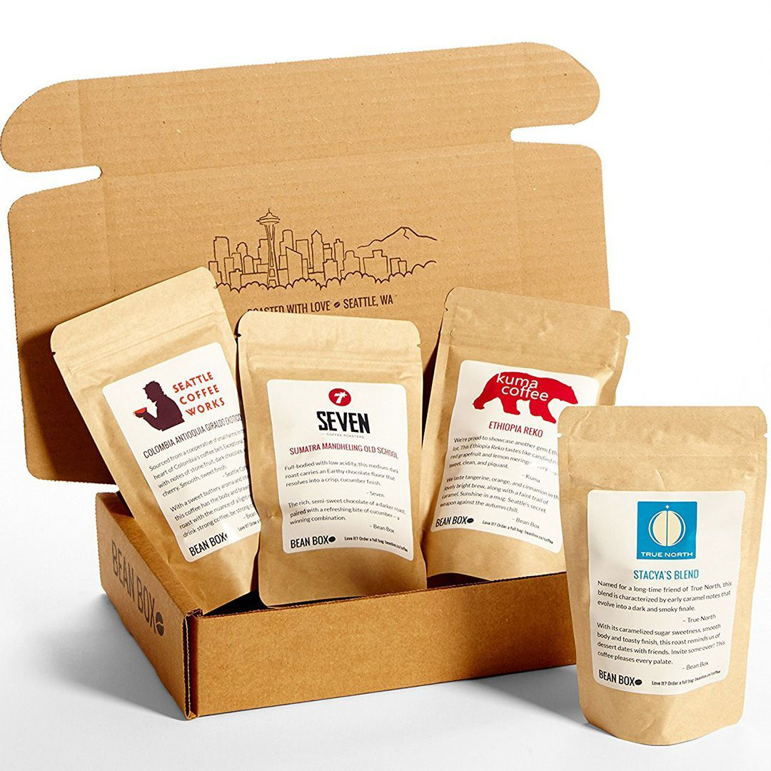 Bean Box Gourmet Coffee Sampler Bean Box amazon.com $28.00 SHOP NOW Your dad isn't the average Joe, so he shouldn't have an average cup of Joe either. These four gourmet coffees from Seattle will meet all his java needs.