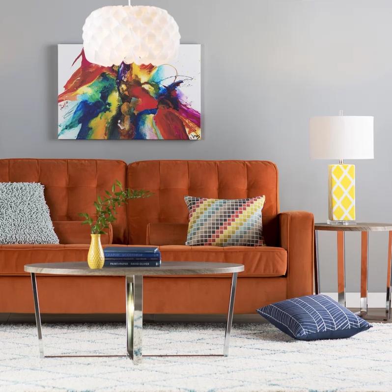 5 Arrieta Upholstered Orange Sofa