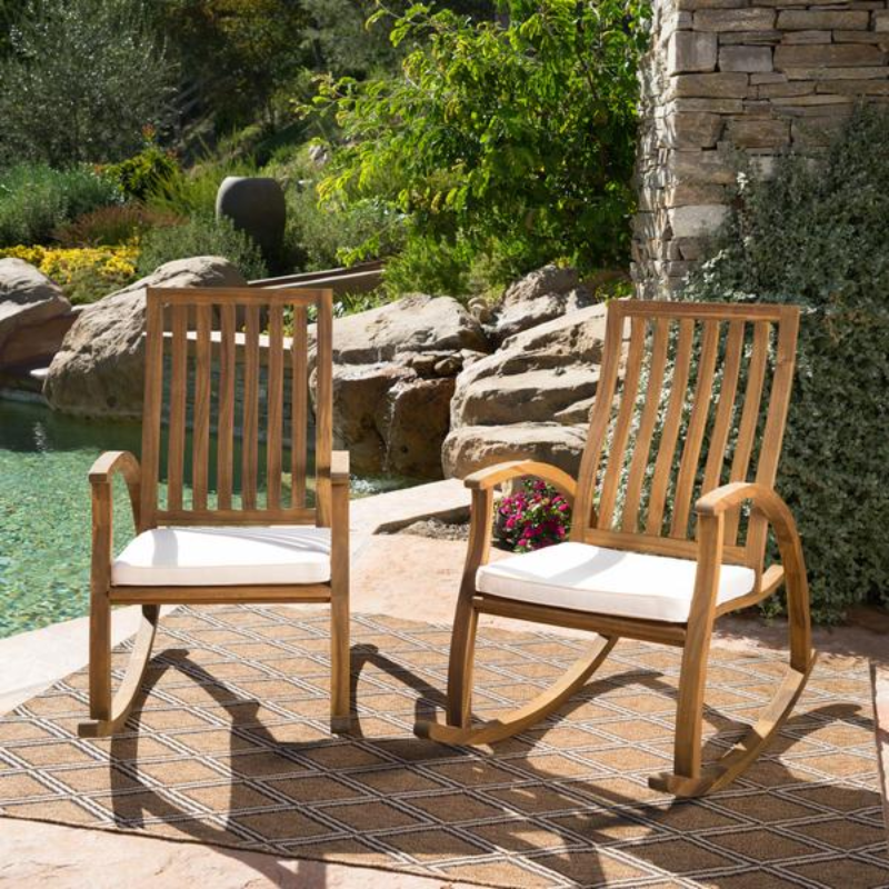 3 Wooden Outdoor Rocking Chair Set
