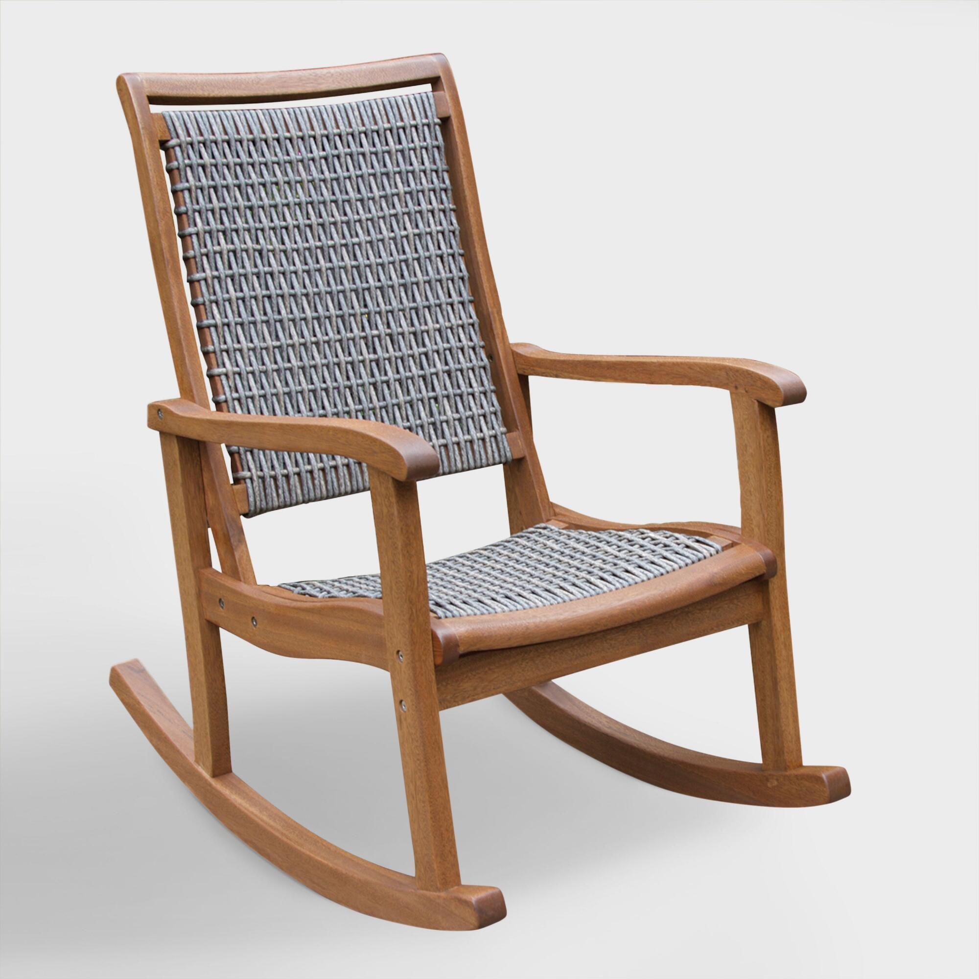 6 Wicker U0026 Wood All Weather Rocking Chair