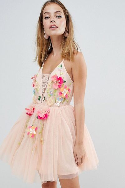 Fl Embellished Homecoming Dress