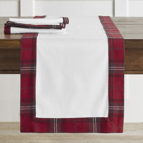 williams sonoma tartan border table runner - Christmas Plaid Table Runner