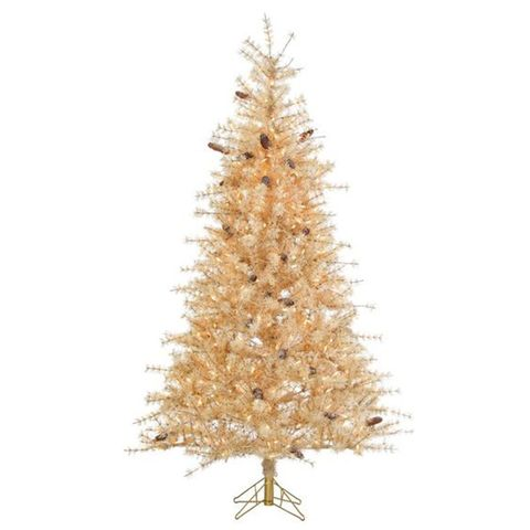 3 sterling inc frosted hard needle 7 foot gold christmas tree - Gold Christmas