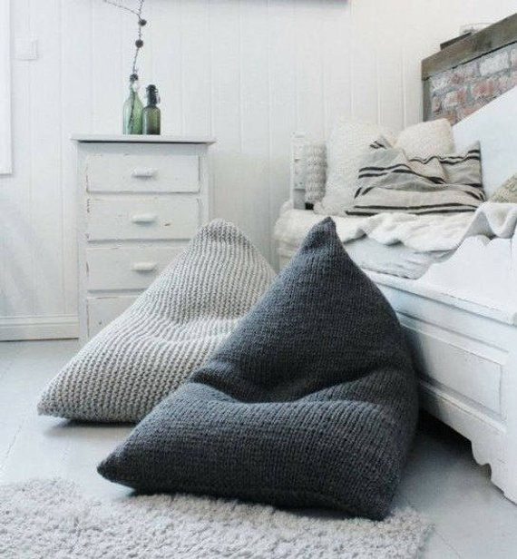 Fine Grey Xl Knitted Bean Bag Squirreltailoven Fun Painted Chair Ideas Images Squirreltailovenorg