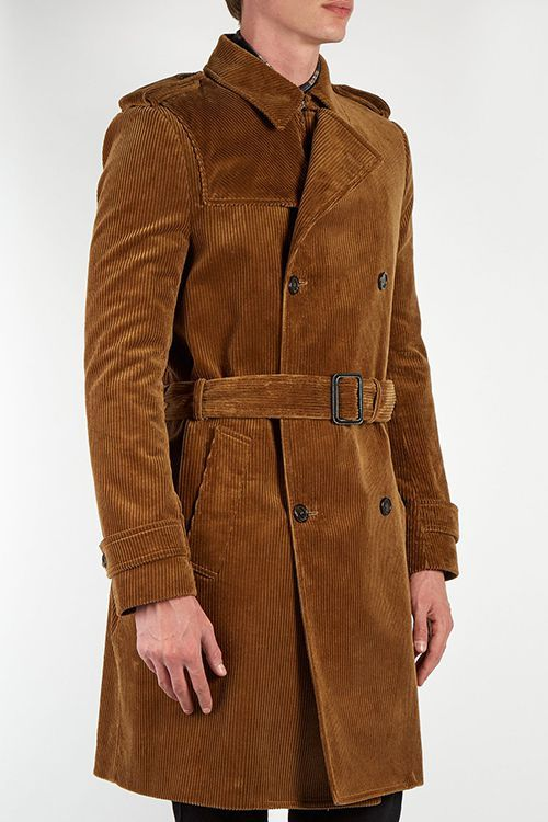 world-wide selection of hot-selling authentic official site Saint Laurent Double-Breasted Corduroy Trench Coat