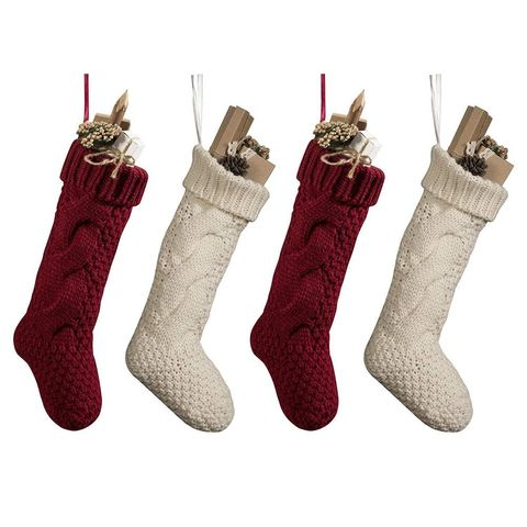 1 burgundy and ivory knit christmas stockings set of four