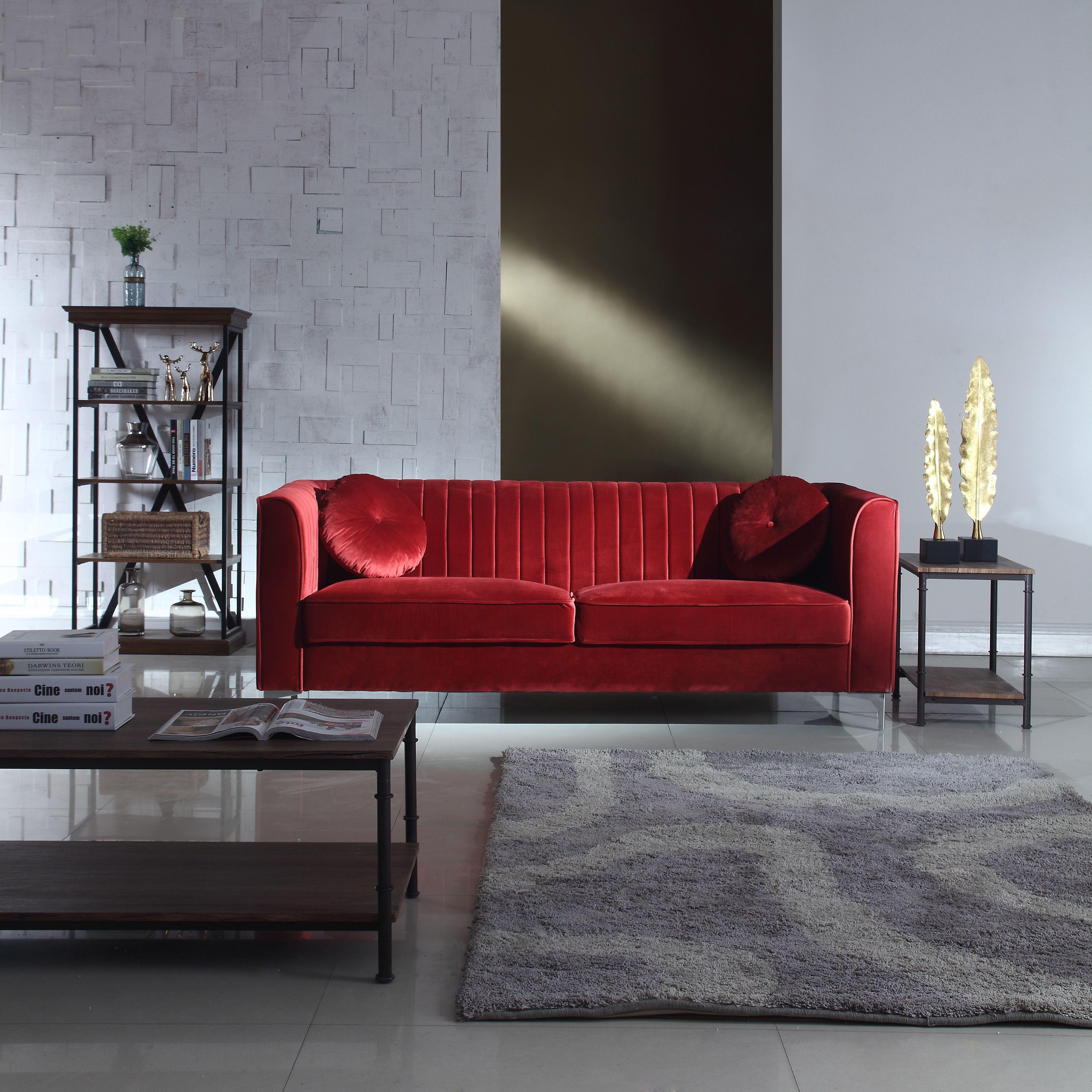 Brilliant Red Traditional Velvet Sofa Unemploymentrelief Wooden Chair Designs For Living Room Unemploymentrelieforg
