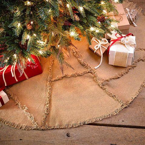 9 vhc brands reverse seam natural burlap christmas tree skirt - Christmas Burlap