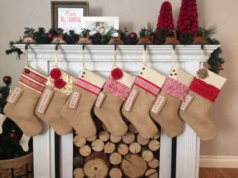 rustic burlap christmas stockings