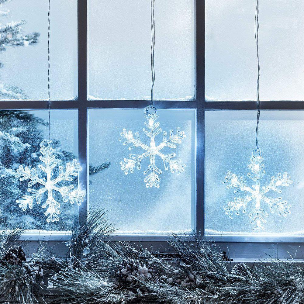 Led Acrylic Snowflake Hanging Christmas Window Lights