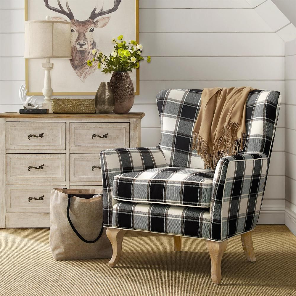 Courtesy Of The Home Depot. Dorel Emerie Checkered Pattern Accent Chair.  $302.73