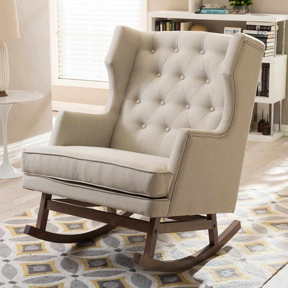 Beige Wingback Rocking Chair
