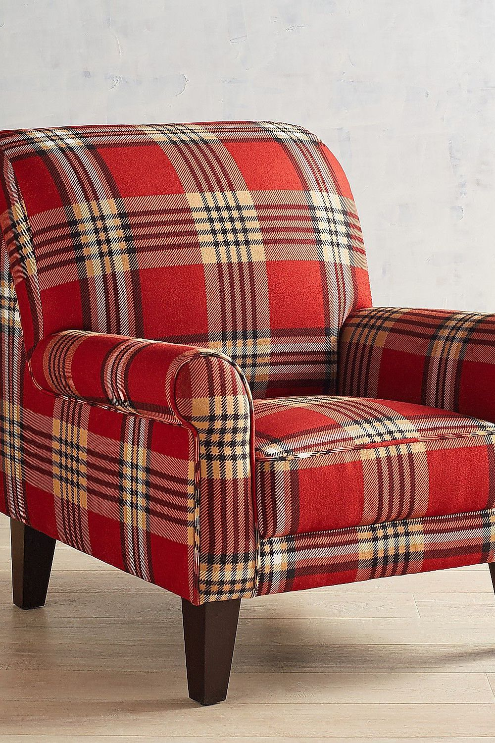 Brilliant Lyndee Red Plaid Armchair Bralicious Painted Fabric Chair Ideas Braliciousco