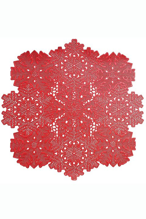 red snowflake vinyl christmas placemat set of 4