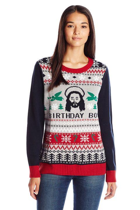 Ugly Christmas Sweater Women's Birthday Boy, Silver Heather, S