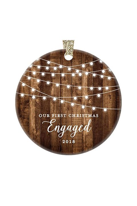Amazon. Rustic First Christmas Engaged Ornament - 20 Engagement Ornaments - Personalized Ornaments For First Engaged