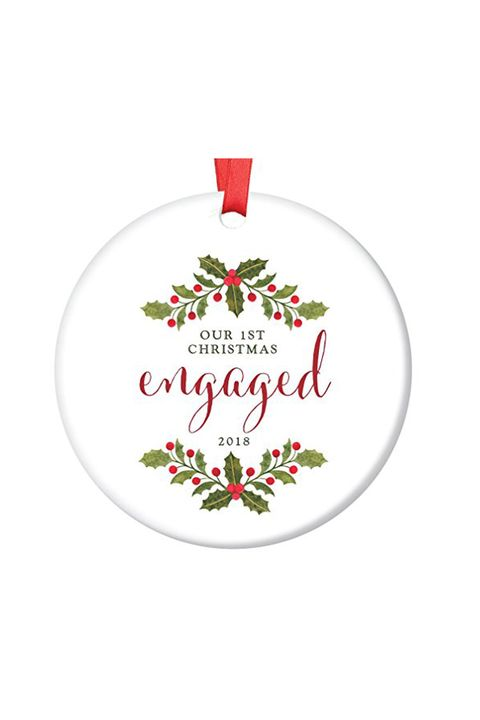 Amazon. First Christmas Engaged Holly Ornament - 20 Engagement Ornaments - Personalized Ornaments For First Engaged