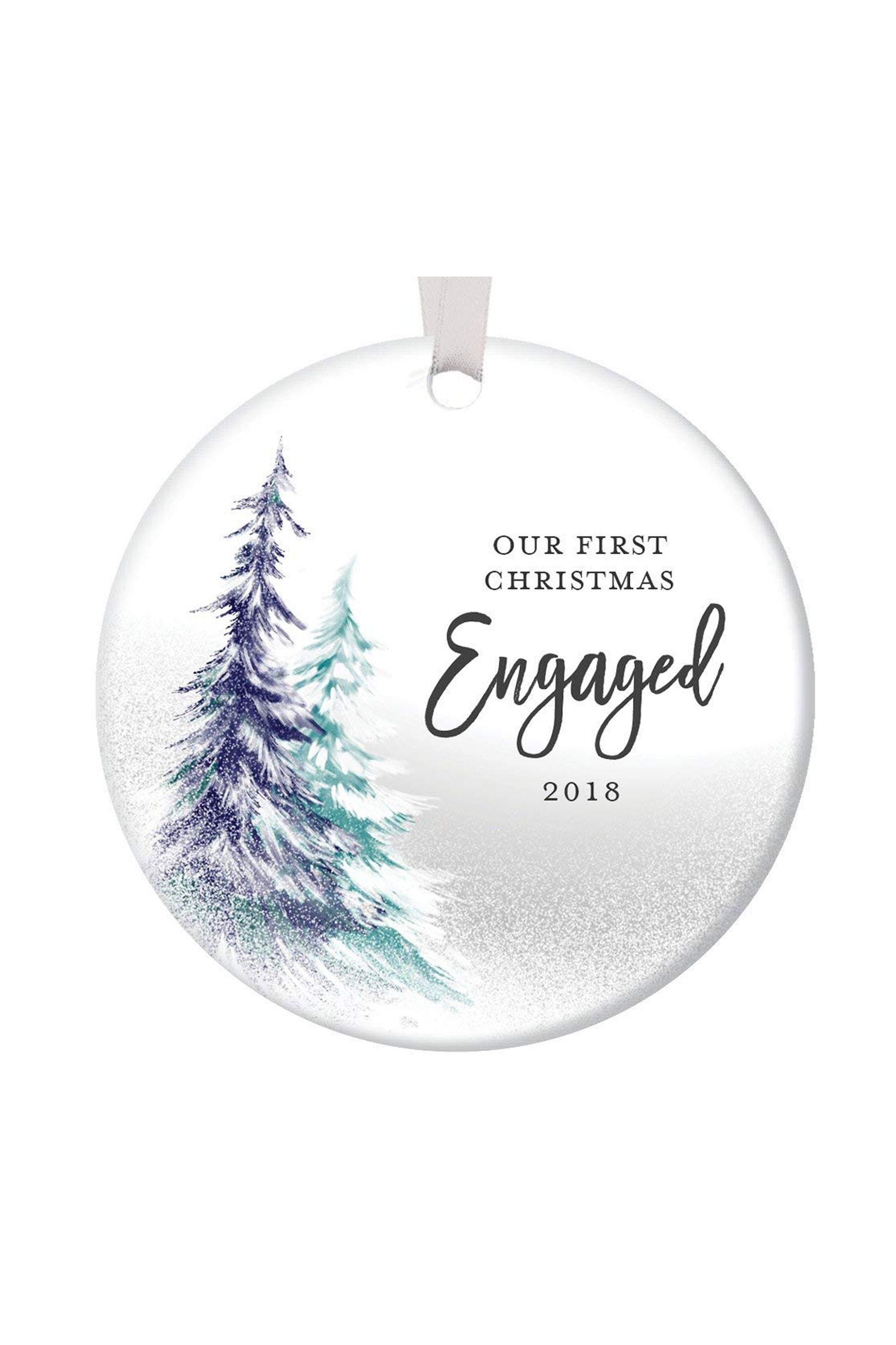 Snowy Trees Engaged Ornament