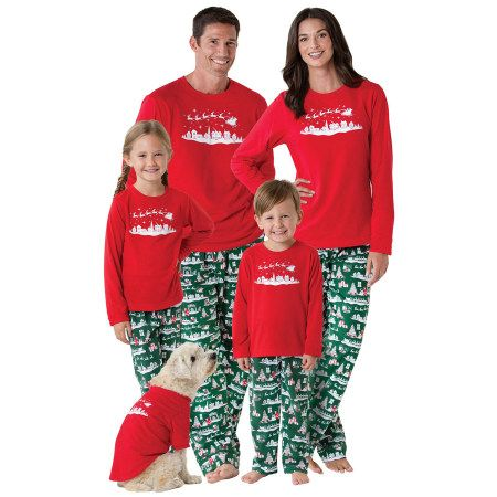 matching family christmas pajamas with dog