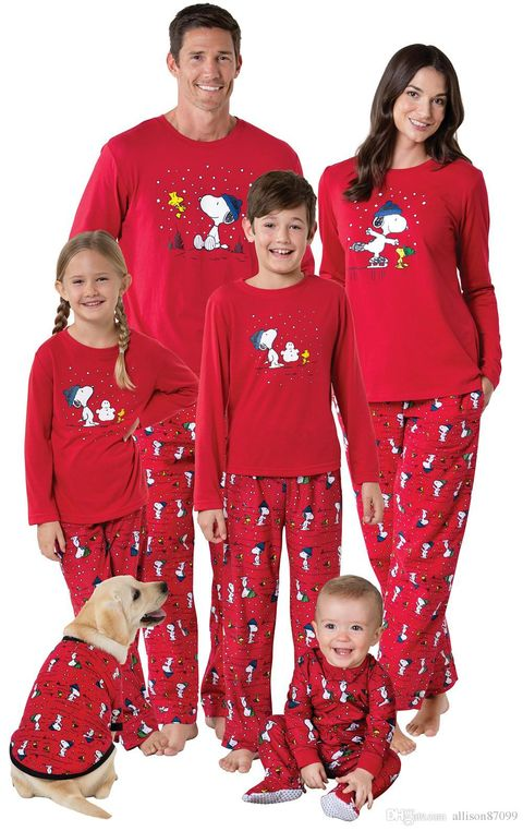 snoopy family christmas pajamas sets