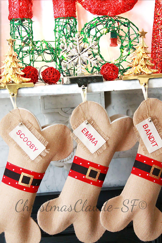 Dog Bone Christmas Stocking.Personalized Pet Stocking